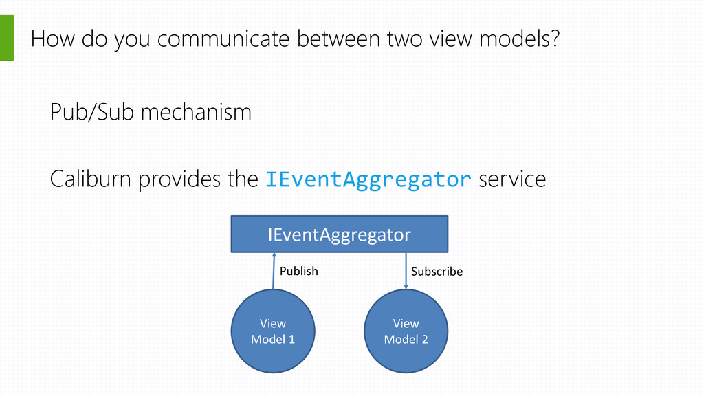 How do you communicate between two view models?...
