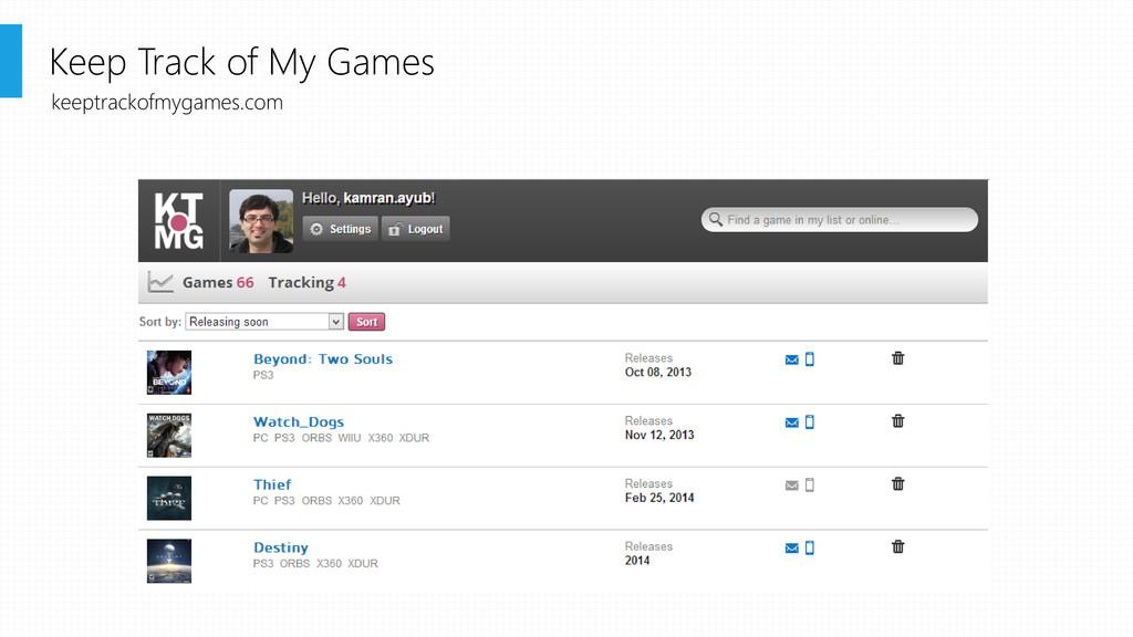 Keep Track of My Games keeptrackofmygames.com