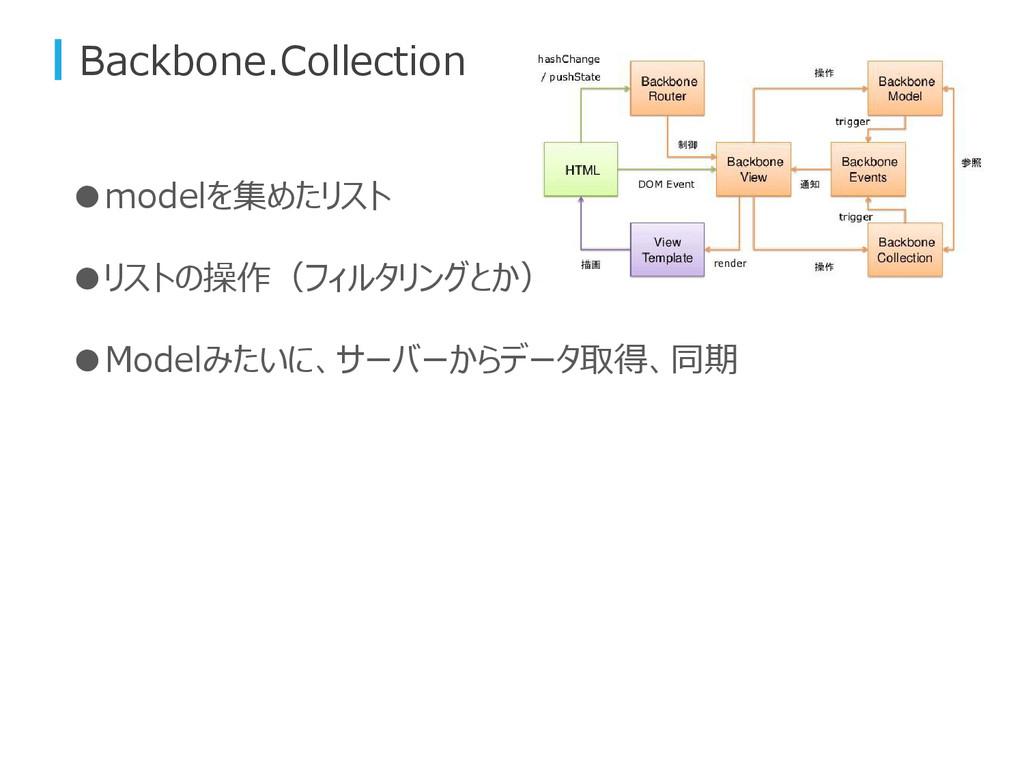 Backbone.Collection ●modelを集めたリスト ●リストの操作(フィルタリ...