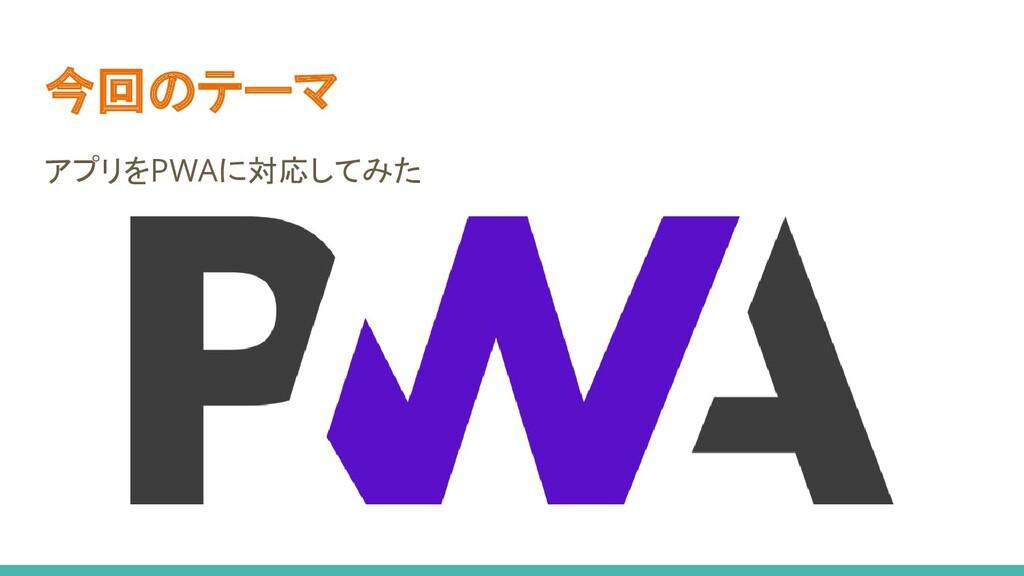 今回のテーマ アプリをPWAに対応してみた