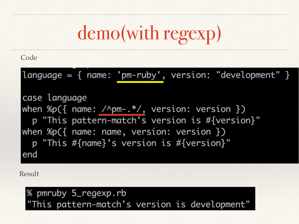 demo(with regexp) Code Result