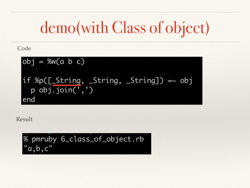 demo(with Class of object) Code Result