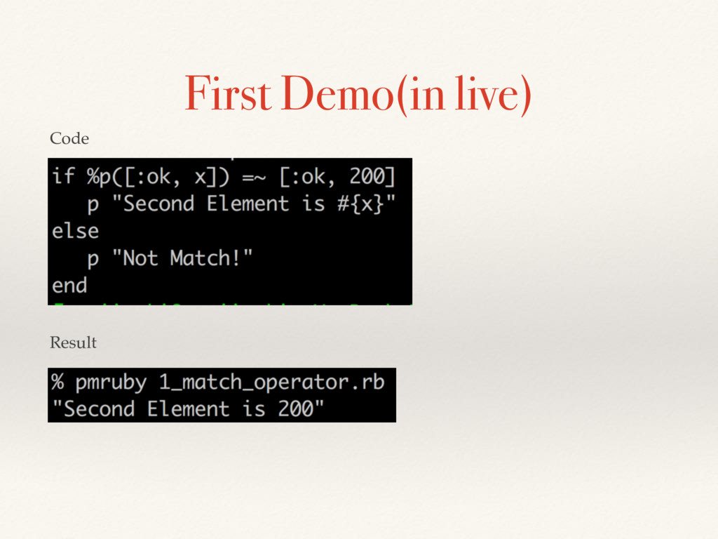 First Demo(in live) Code Result