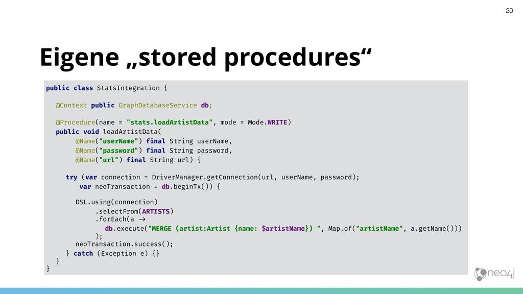 "Eigene ""stored procedures"" public class StatsIn..."