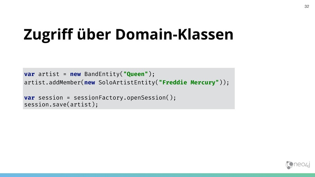 Zugriff über Domain-Klassen var artist = new Ban...