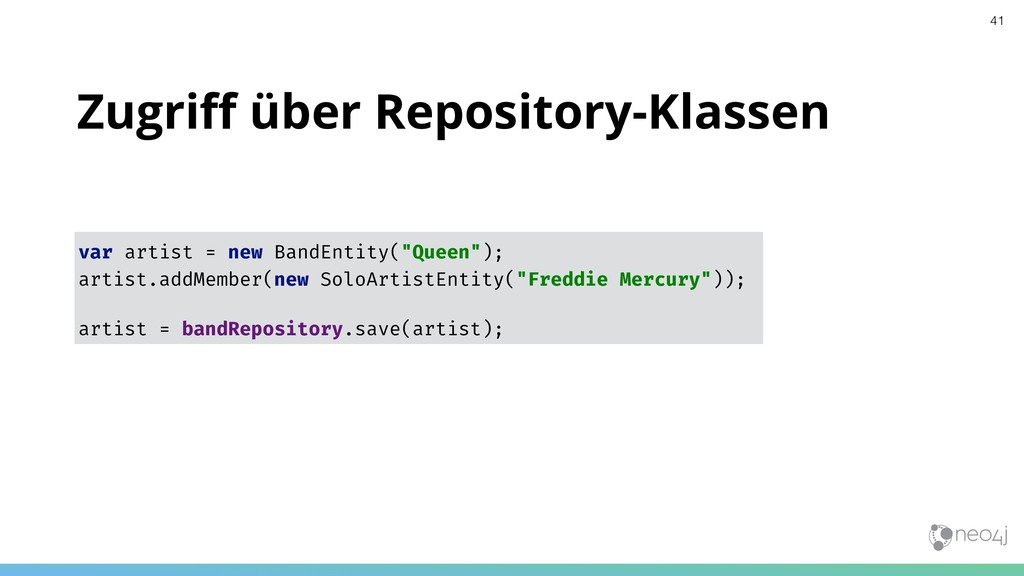 Zugriff über Repository-Klassen var artist = new...