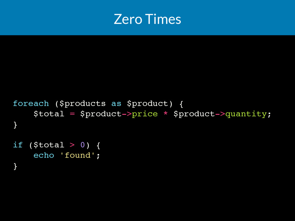Zero Times foreach ($products as $product) { $t...