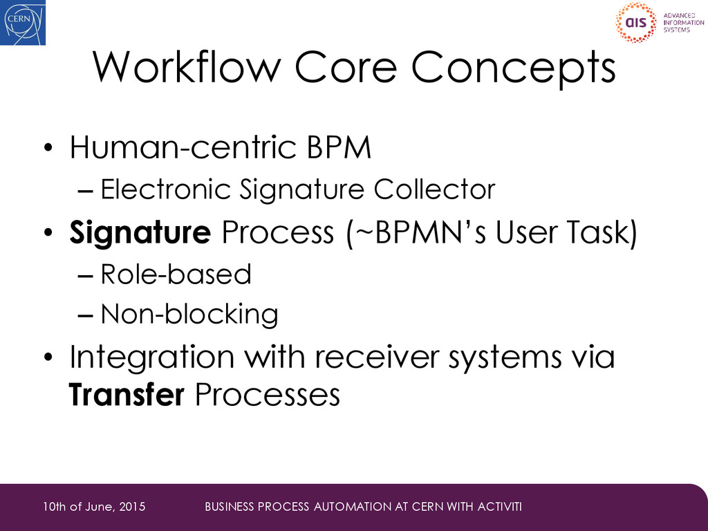 Workflow Core Concepts • Human-centric BPM – El...