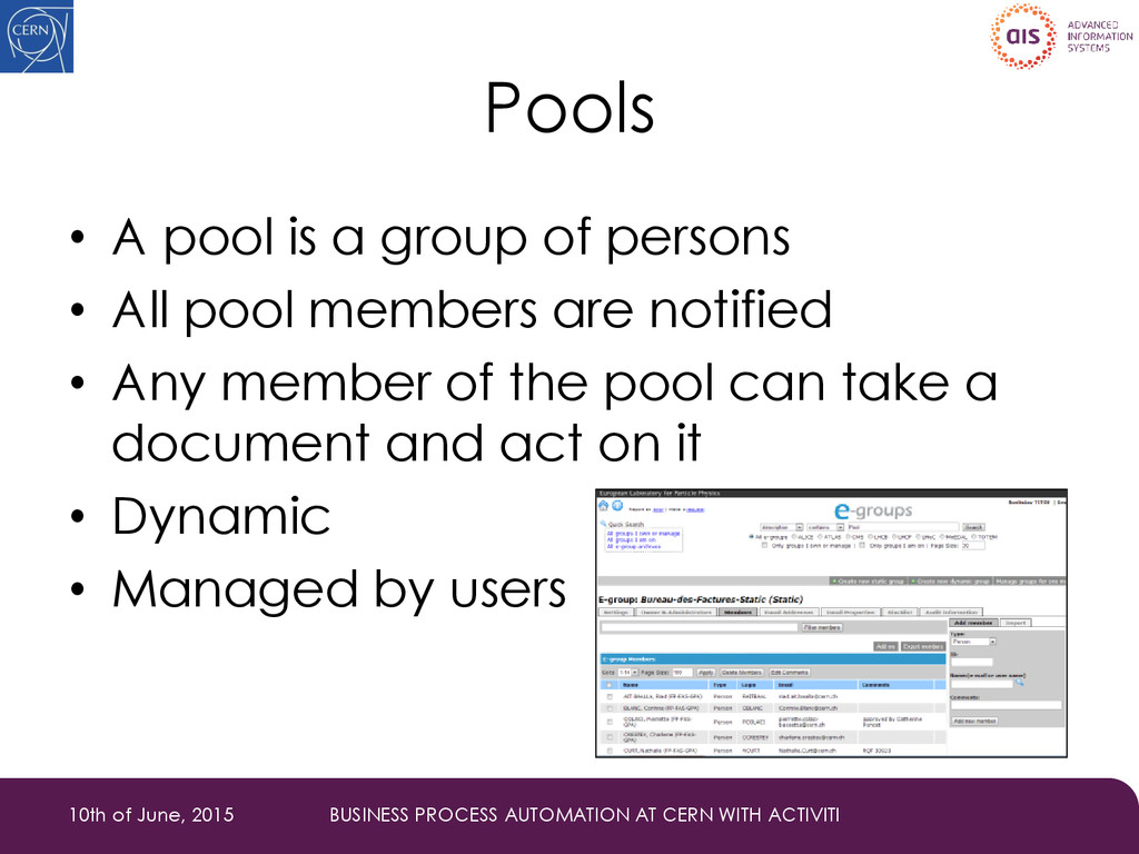 Pools • A pool is a group of persons • All pool...