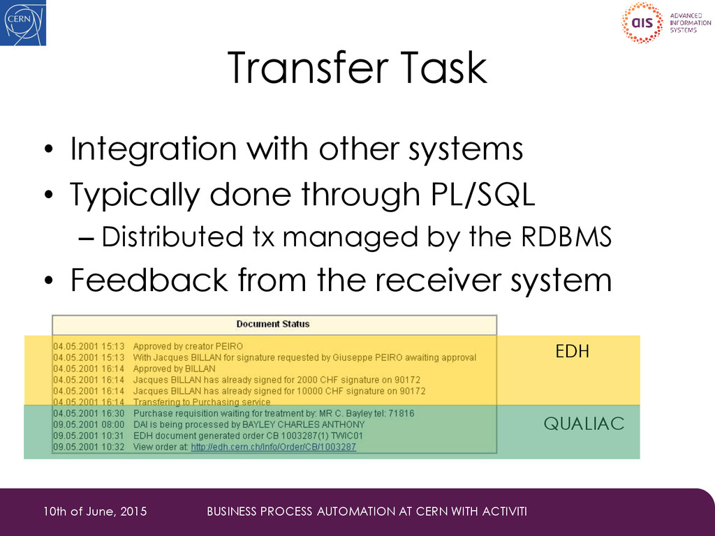 Transfer Task • Integration with other systems ...