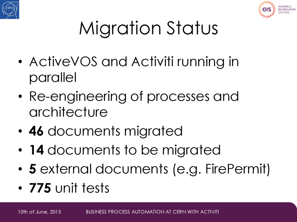 Migration Status • ActiveVOS and Activiti runni...