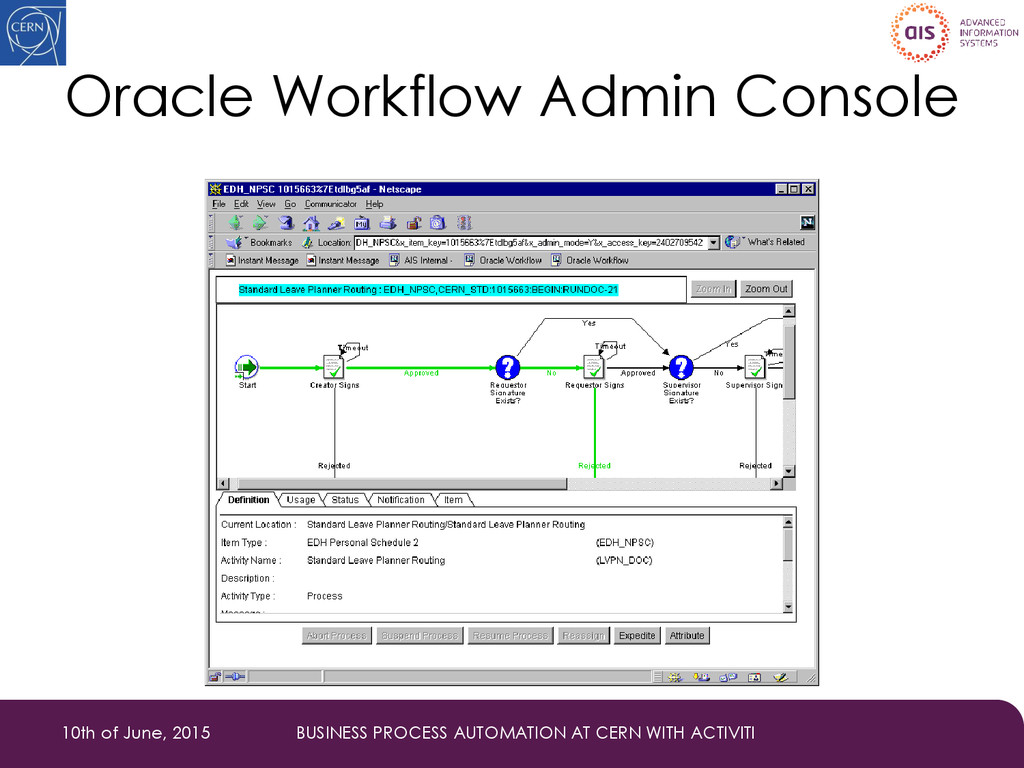 Oracle Workflow Admin Console 10th of June, 201...