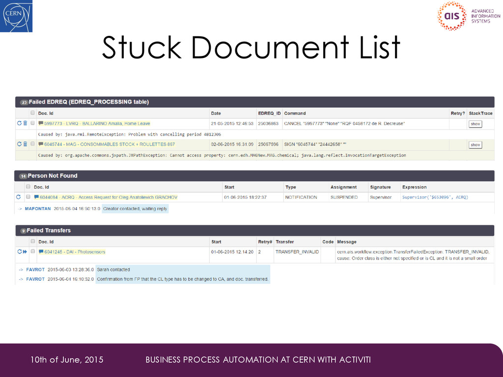 Stuck Document List 10th of June, 2015 BUSINESS...