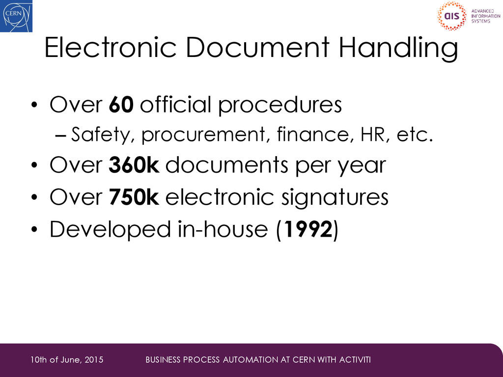Electronic Document Handling • Over 60 official...