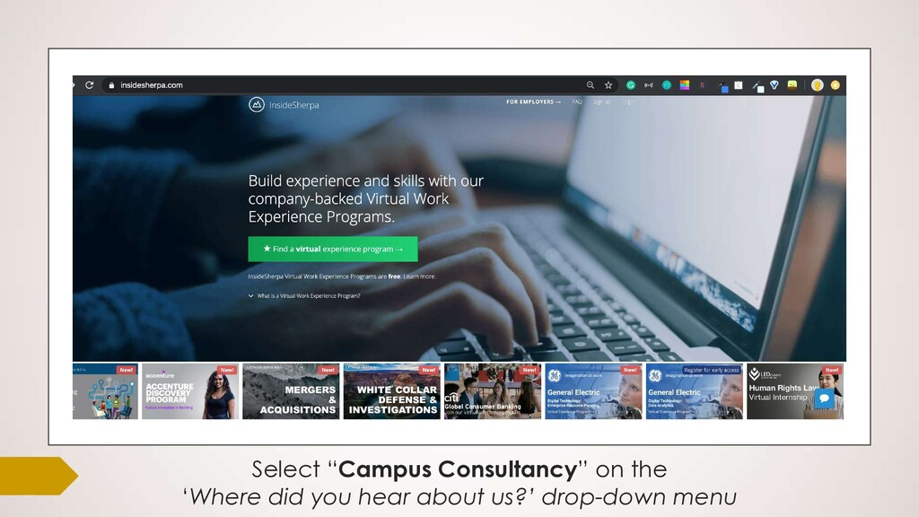 "Select ""Campus Consultancy"" on the 'Where did y..."