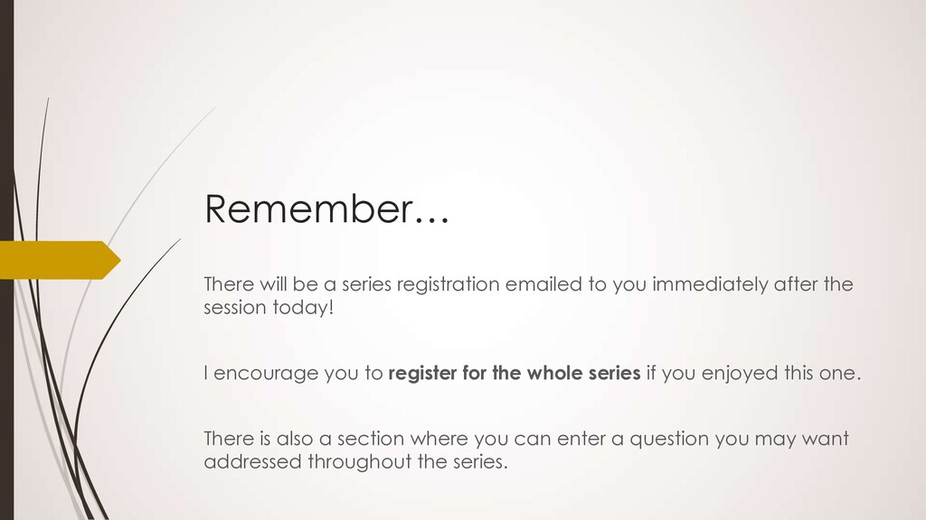 Remember… There will be a series registration e...