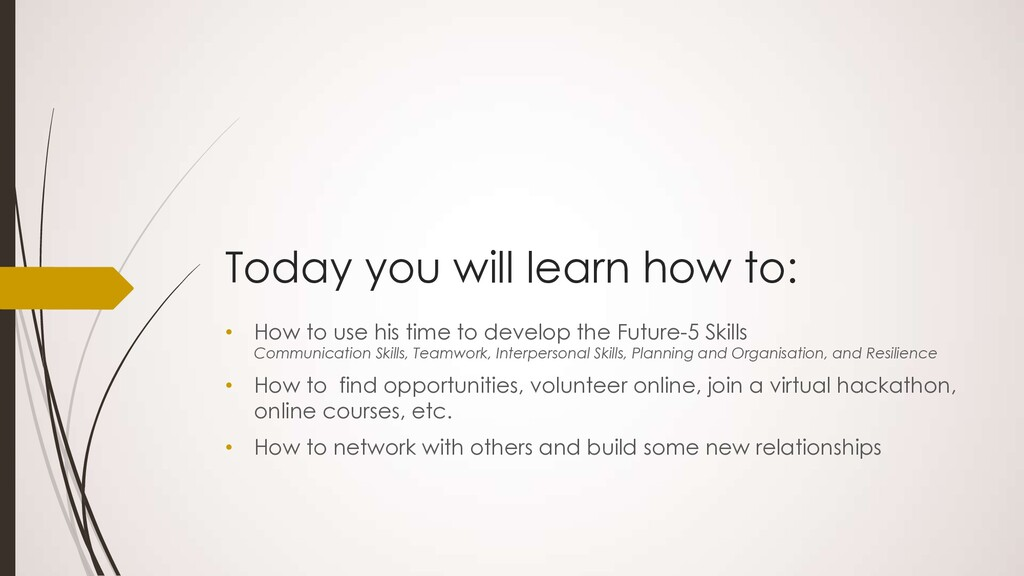 Today you will learn how to: • How to use his t...
