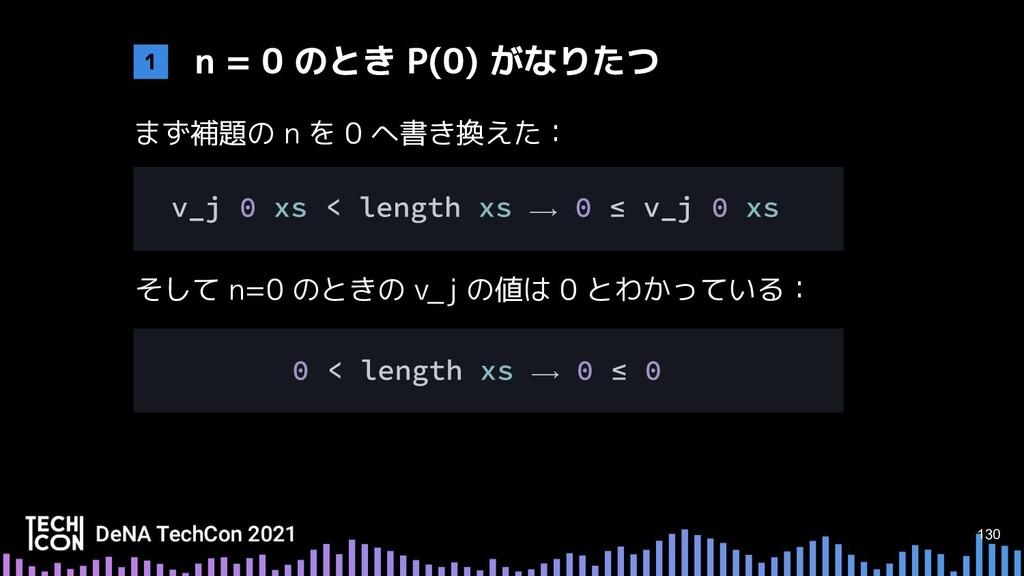 130 まず補題の n を 0 へ書き換えた: そして n=0 のときの v_j の値は 0 ...