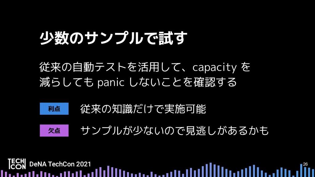 26 従来の自動テストを活用して、capacity を 減らしても panic しないことを確...