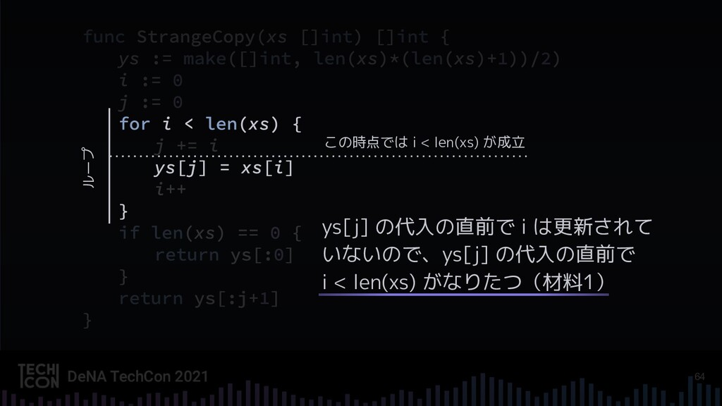 64 ys[j] の代入の直前で i は更新されて いないので、ys[j] の代入の直前で i...
