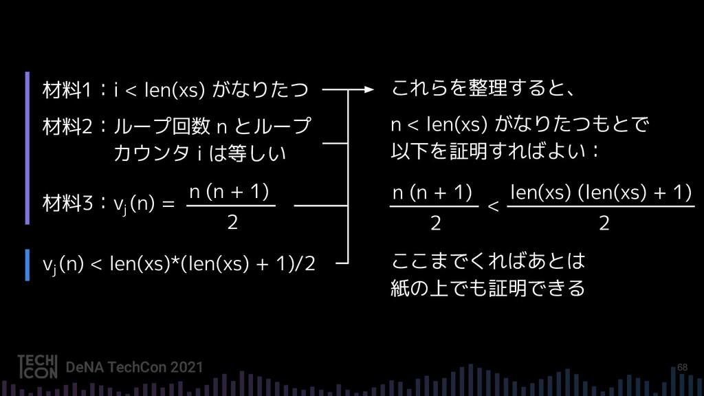 68 材料1:i < len(xs) がなりたつ 材料2:ループ回数 n とループ カウンタ ...