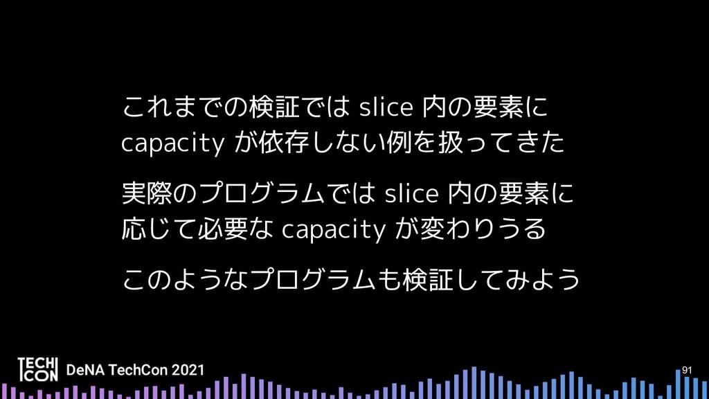 91 これまでの検証では slice 内の要素に capacity が依存しない例を扱ってきた...