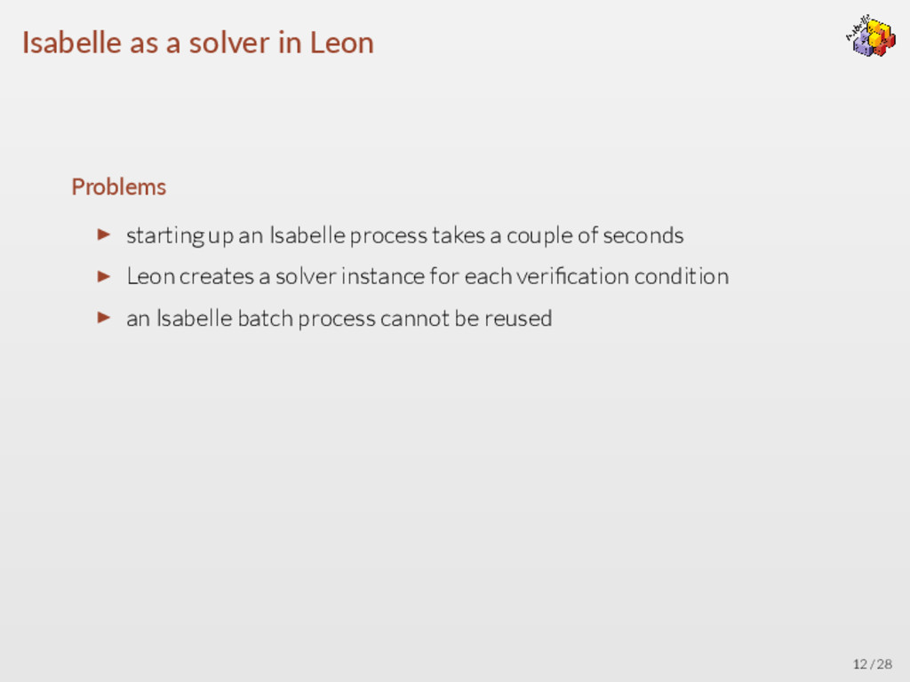 Isabelle as a solver in Leon Problems ▶ startin...