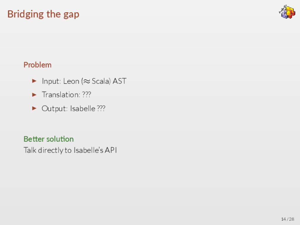 Bridging the gap Problem ▶ Input: Leon (≈ Scala...