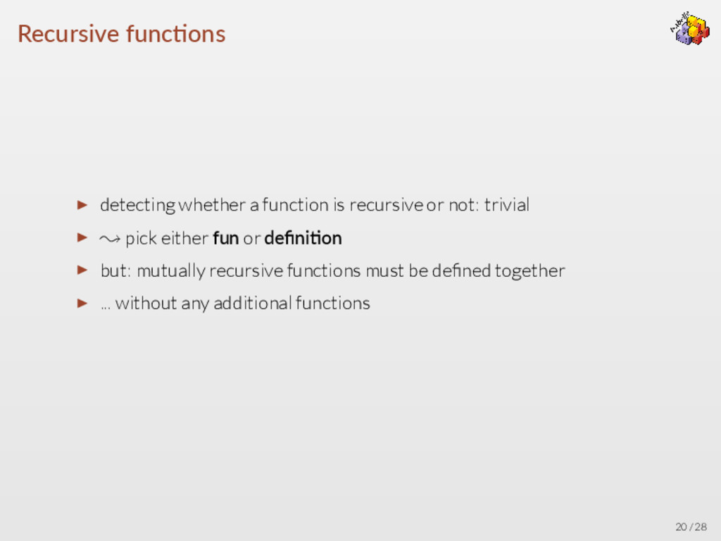 Recursive func ons ▶ detecting whether a functi...