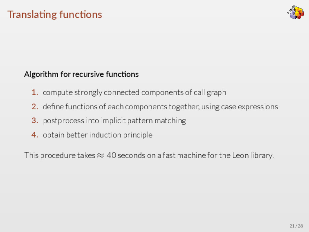 Transla ng func ons Algorithm for recursive fun...