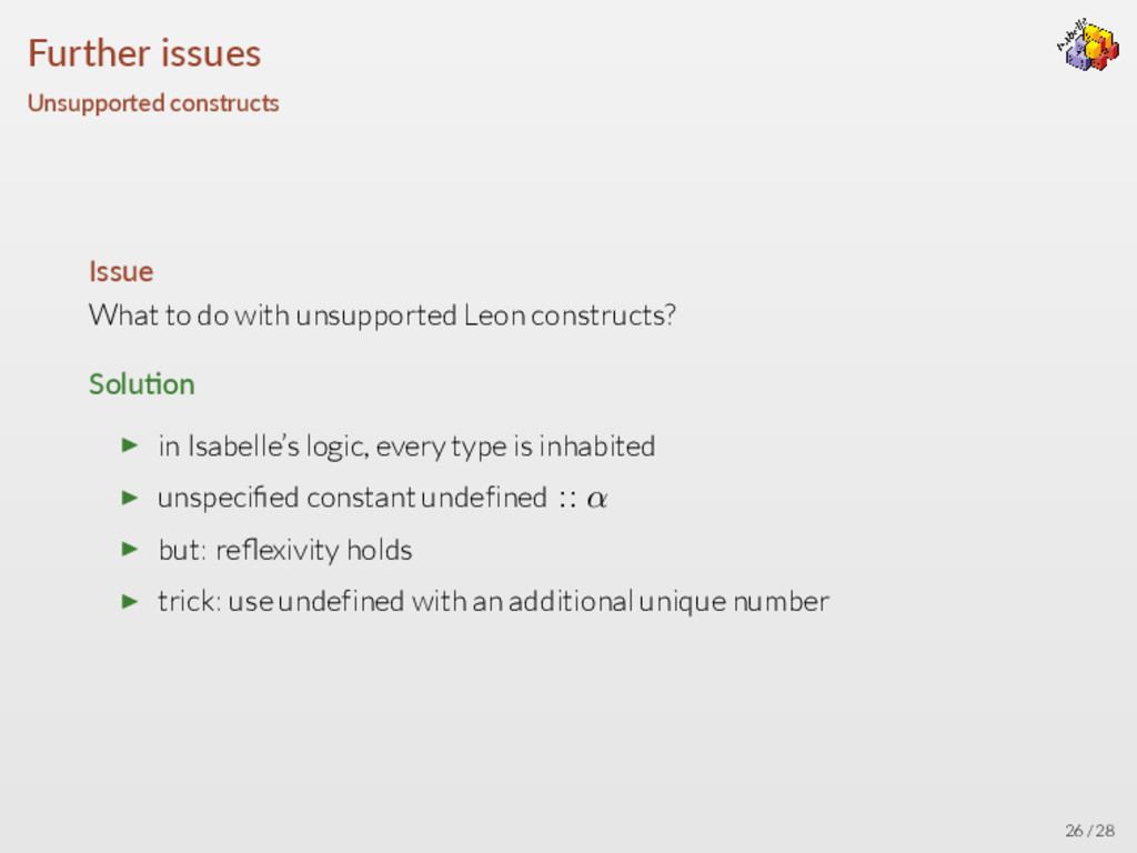 Further issues Unsupported constructs Issue Wha...