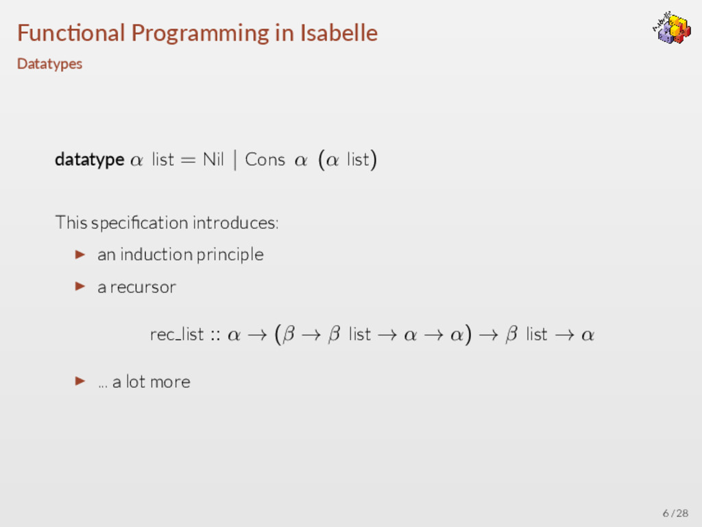 Func onal Programming in Isabelle Datatypes dat...
