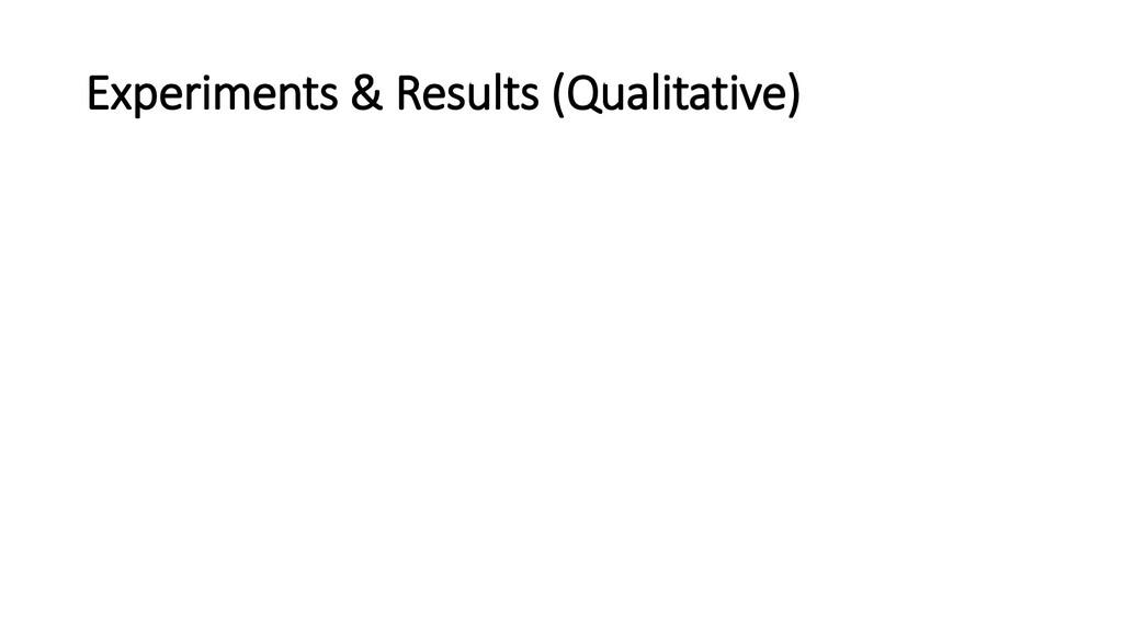 Experiments & Results (Qualitative)