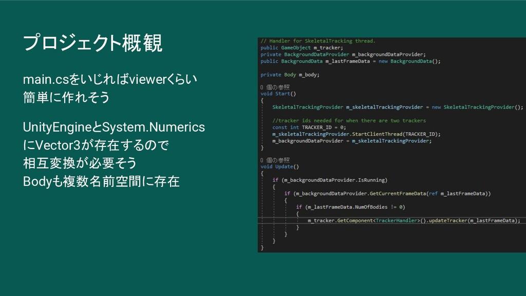 プロジェクト概観 main.csをいじればviewerくらい 簡単に作れそう UnityEng...