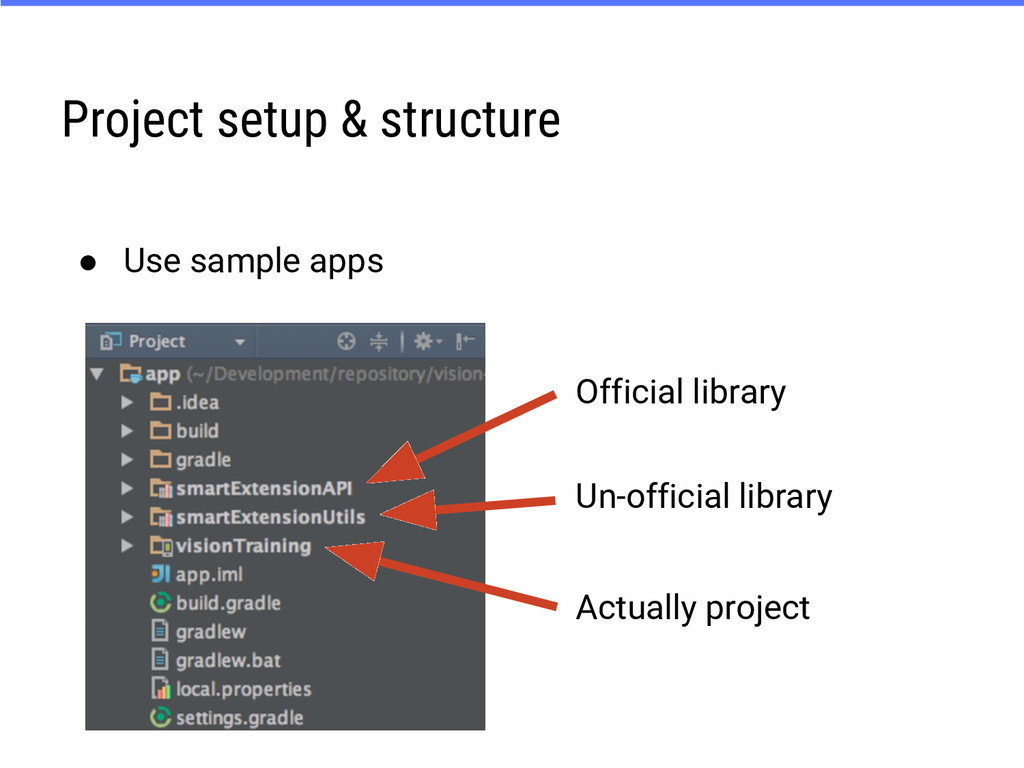 Project setup & structure ● Use sample apps Off...