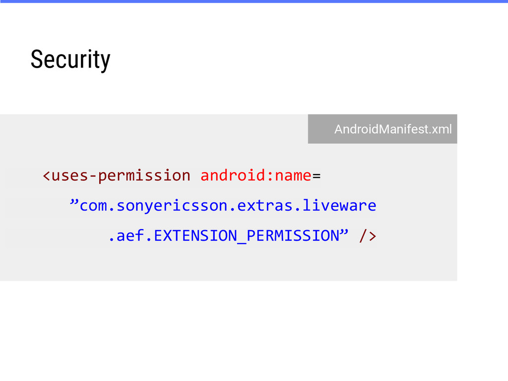 "Security <uses-permission android:name= ""com.so..."