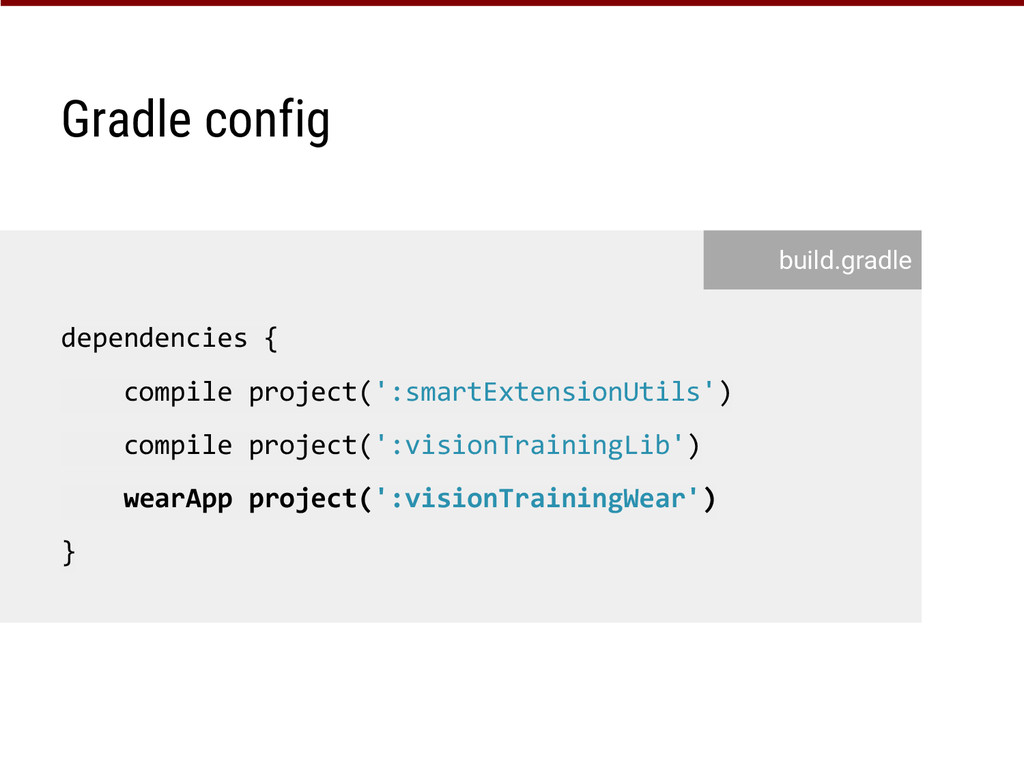 Gradle config dependencies { compile project(':...