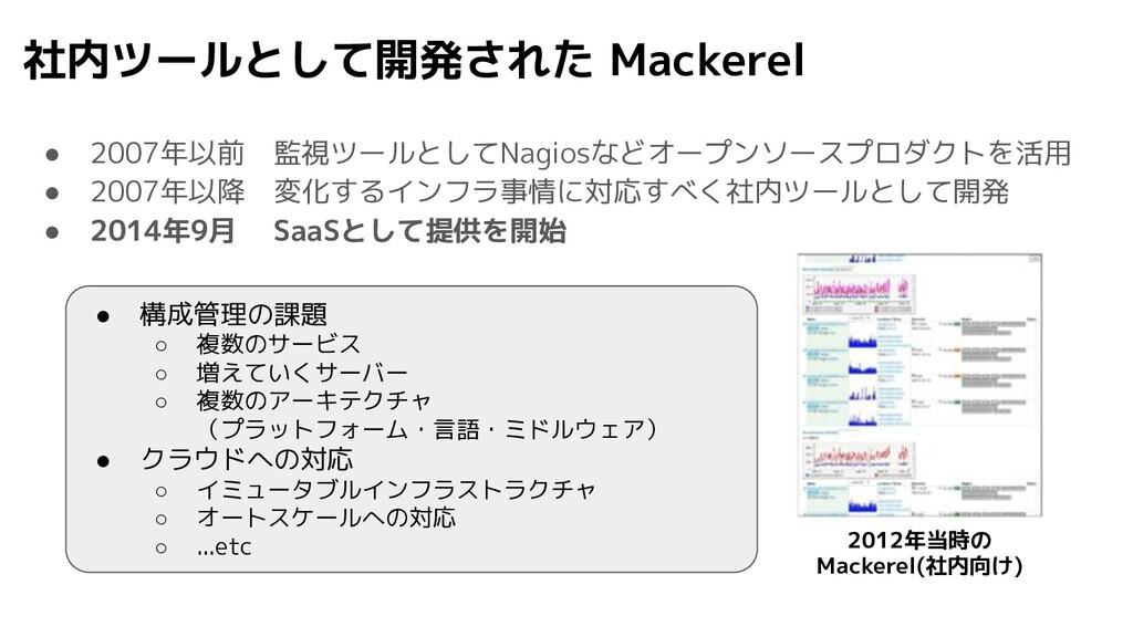 社内ツールとして開発された Mackerel ● 2007年以前 監視ツールとしてNagios...