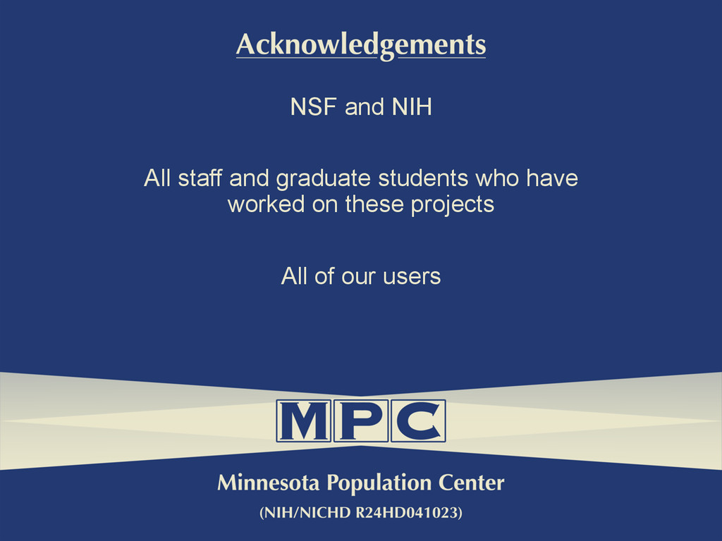 NSF and NIH All staff and graduate students who...