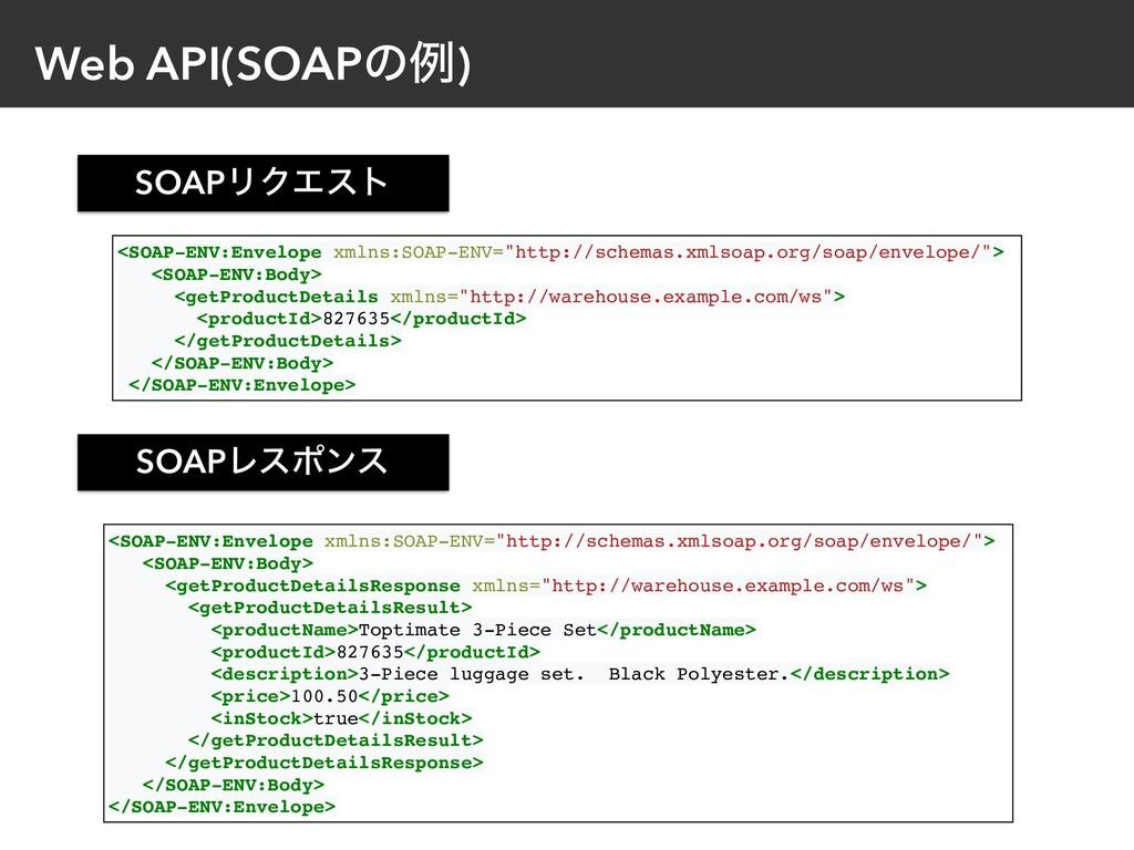Web API(SOAPͷྫ) SOAPϦΫΤετ SOAPϨεϙϯε <SOAP-ENV:E...