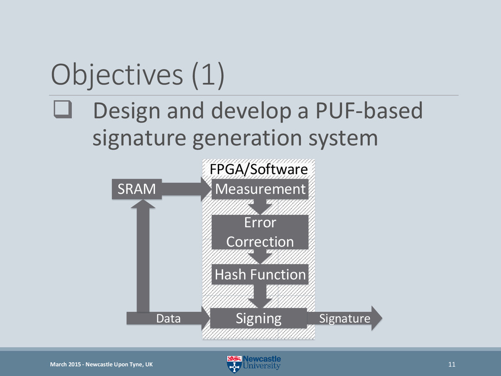 Objectives (1)  Design and develop a PUF-based...