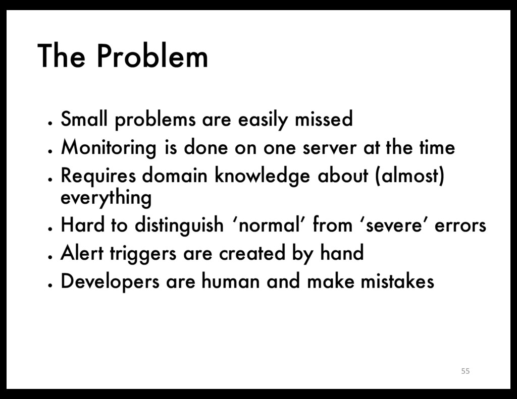 The Problem ● Small problems are easily missed ...