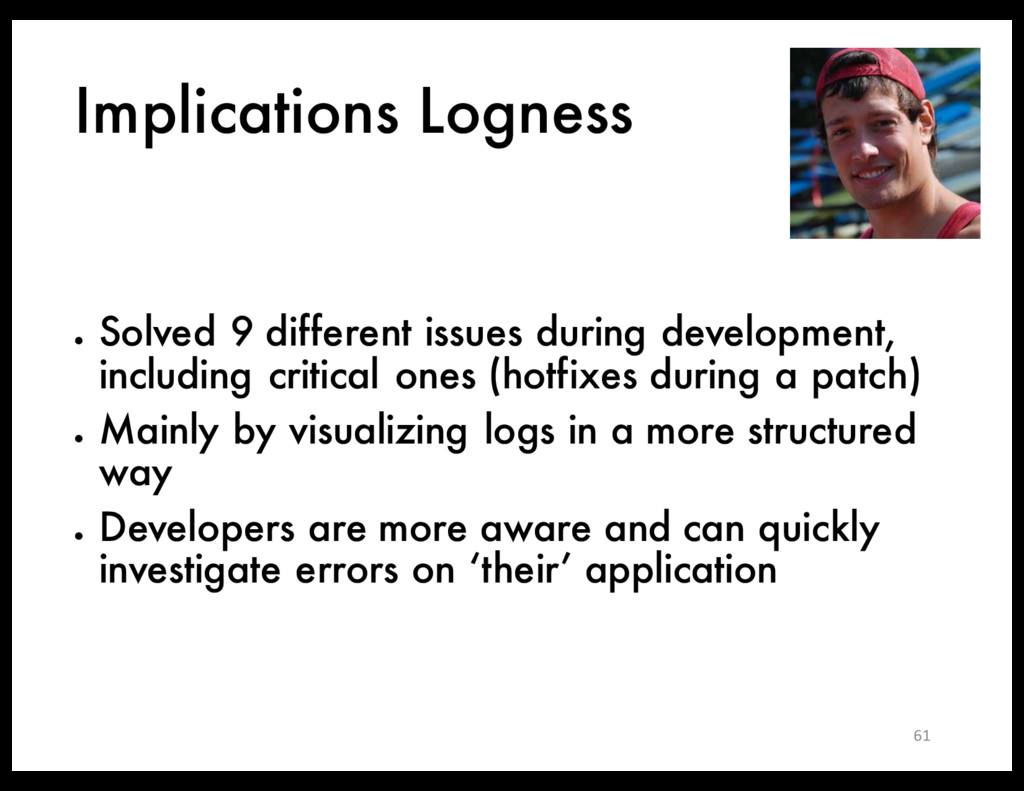 Implications Logness ● Solved 9 different issue...
