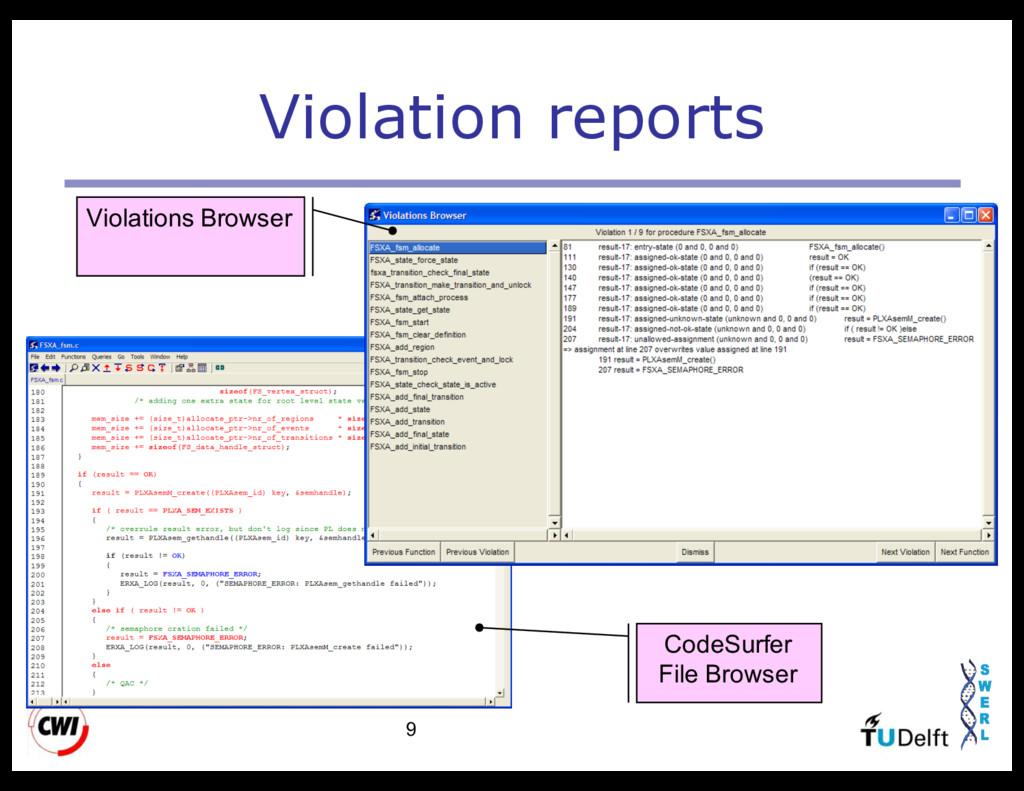 9 Violation reports CodeSurfer File Browser Vio...