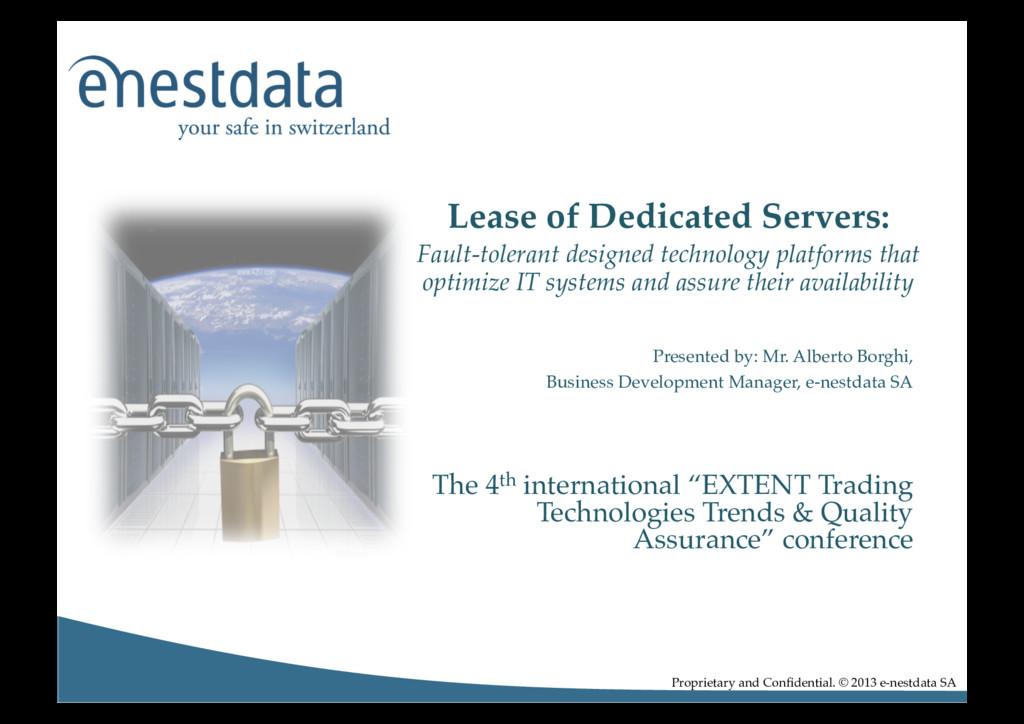 Presented by: Mr. Alberto Borghi,! Business Dev...