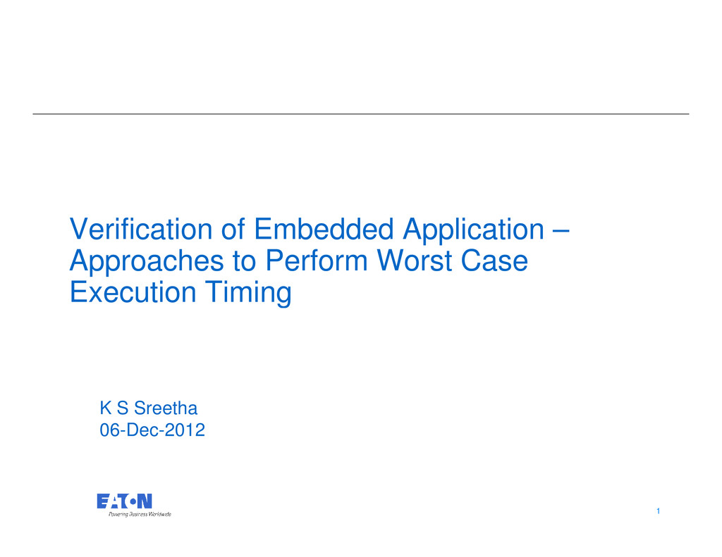 Verification of Embedded Application – Approach...