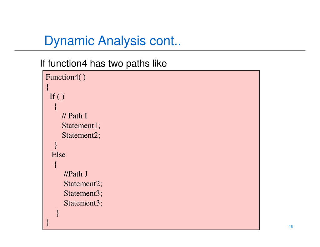 Dynamic Analysis cont.. Function4( ) { If ( ) {...
