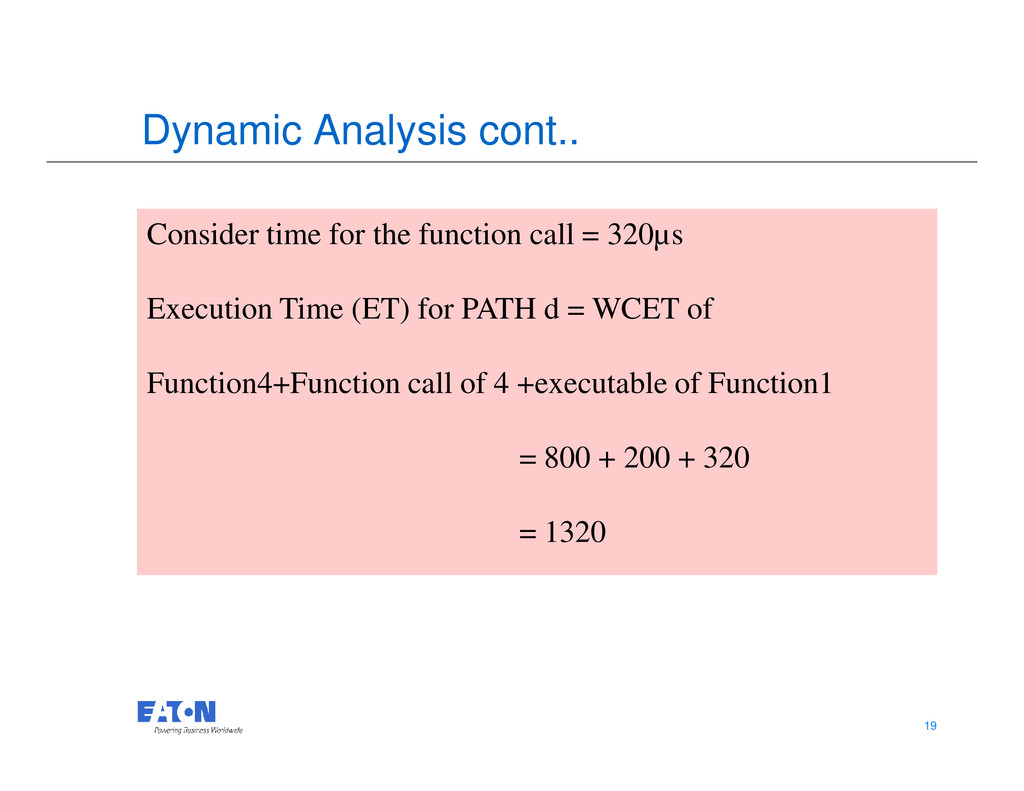 Dynamic Analysis cont.. Consider time for the f...