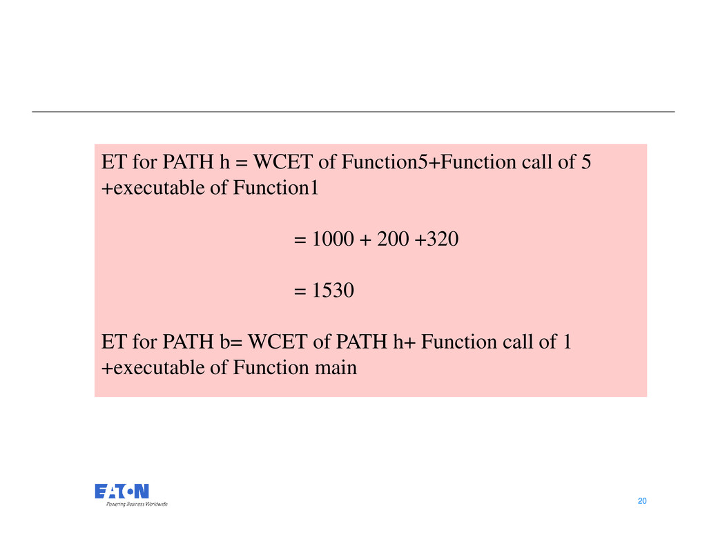 ET for PATH h = WCET of Function5+Function call...