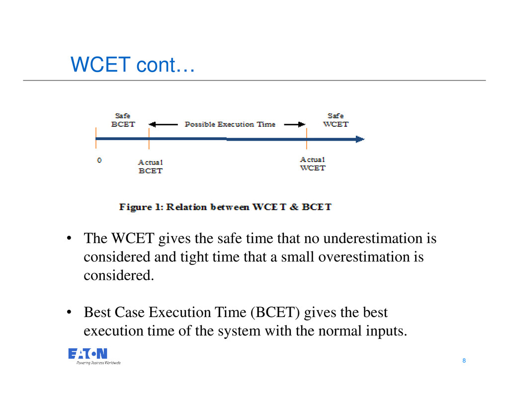 WCET cont… 8 8 • The WCET gives the safe time t...